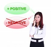 pic of think positive  - Business woman thinking about positive thinking isolated on white background - JPG