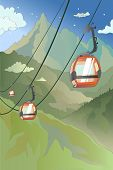 Cartoon Mountain Cableway