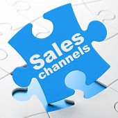 Marketing concept: Sales Channels on puzzle background