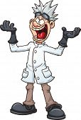 stock photo of insane  - Mad cartoon scientist - JPG