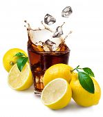 stock photo of coca-cola  - Glass of cola with ice and lemon isolated on white - JPG