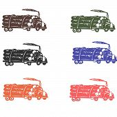 image of logging truck  - Lots of color vector illustration of logging truck - JPG