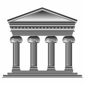 image of ionic  - Ionic temple isolated on white background  - JPG