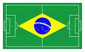 stock photo of gaucho  - soccer field with Brazil flag textured - JPG