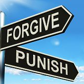 picture of punish  - Forgive Punish Signpost Meaning Forgiveness Or Punishment - JPG