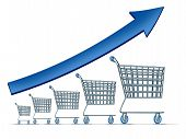 stock photo of going out business sale  - Sales increase symbol as a group of rising shopping carts with a blue arrow going up as a metaphor for successful commercial retail consumerism on a white background - JPG