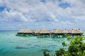 Overwater bungalos with view of amazing blue lagoon