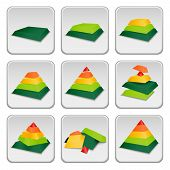 picture of status  - Pyramid status indicator icons set vector illustration - JPG