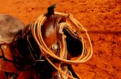 stock photo of girth  - A Nice Image of a Navajo Western saddle - JPG