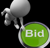 Bid Button Shows Auction Buying And Selling
