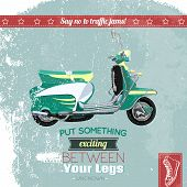 foto of scooter  - Hipster scooter vintage poster design vector illustration - JPG