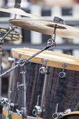 stock photo of drum-kit  - Drum Kit Set with Drums and Cymbals for Live Concert Performance Closeup