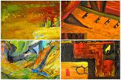 Beautiful Collage collection of four Abstract paintings