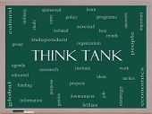 Think Tank Word Cloud Concept On A Blackboard