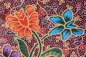 image of batik  - Close up colorful batik cloth fabric background - JPG