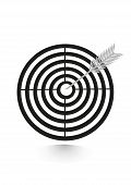 icon flat target with dart in black, isolated
