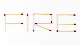foto of verbs  - Word Fire made of matchsticks isolated on white background - JPG