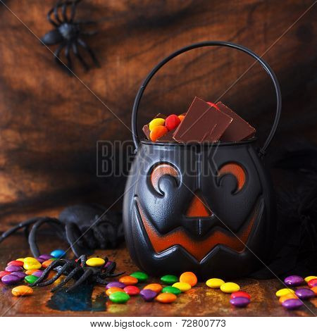 Sweets Chocolate Candy For Halloween In Pumpkin, Spider, Web