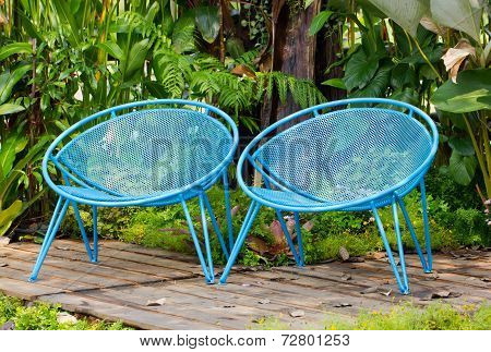 Blue Garden Metal Chairs.