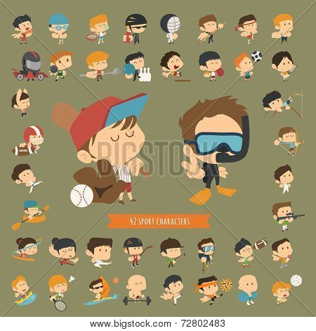 Set Of 42 Sport Characters
