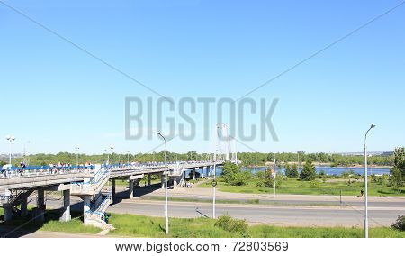 Pedestrian cable-stayed bridge to the island Tatysheva.Krasnoyarsk