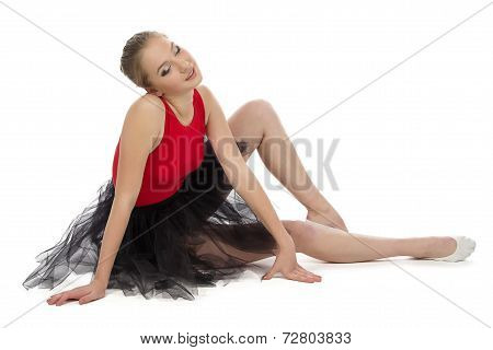 Photo of tired young ballerina
