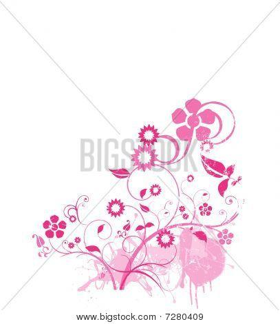 Pink Flowers Corner Grunge