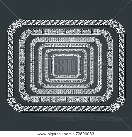 Vector antique ethnic frame collections isolated on chalkboard background