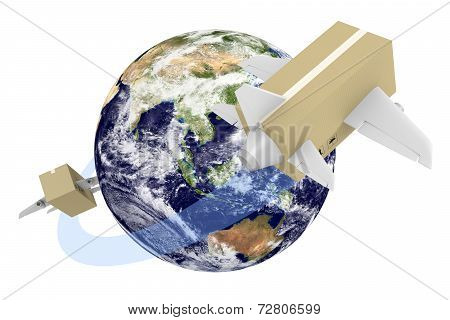 Global shipping concept of boxes flying around the world