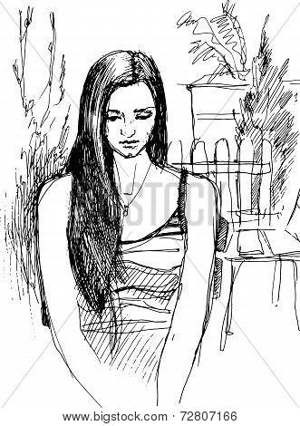 Sketch Of Girl Walking Garden