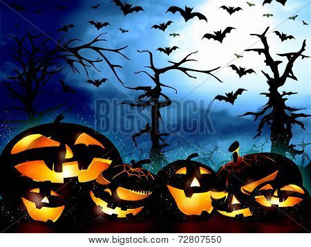 Pumpkins On The Forest Background And The Sky Full Of Bats
