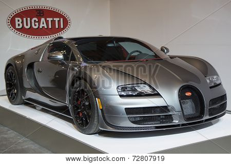 Bugatti Veyron 16.4 luxury sport car on display in New York