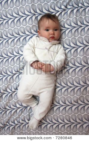 Baby On Pattern Background