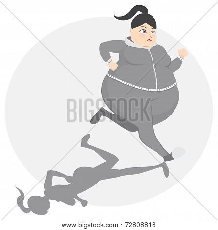 Overweight girl exercise