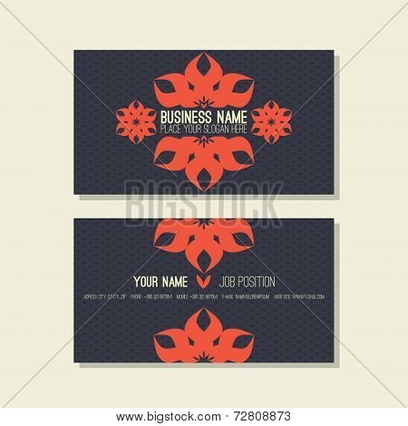 Business Card Template. Floral, Blue And Red Colors
