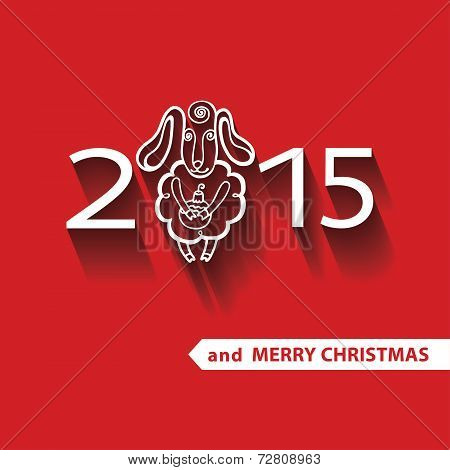 Sheep in New year  celebration greeting card