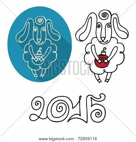 Cartoon outline sheep set.Symbol  Year