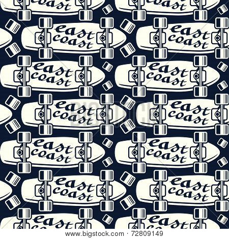 Seamless Pattern With The Image Of Longboard