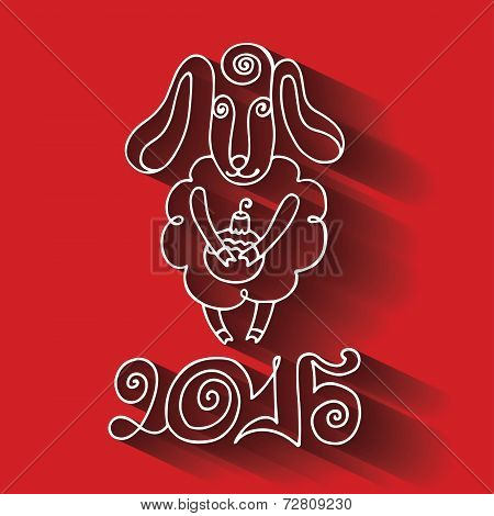 New Year.Cartoon outline sheep with long shadow