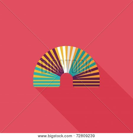 Rainbow Spiral Flat Icon With Long Shadow,eps10