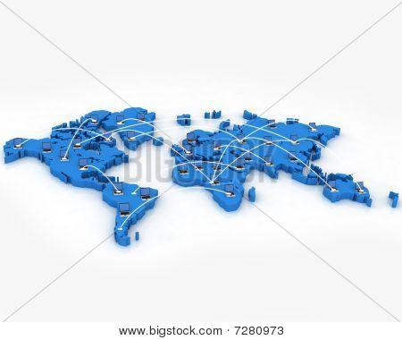 Computer Netowork on World Map