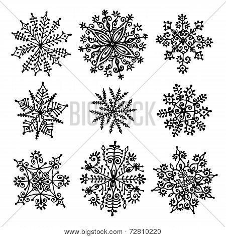 Hand drawn snowflakes.
