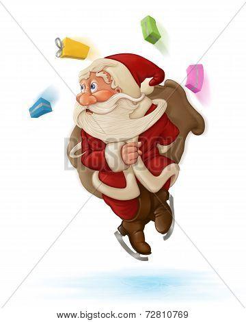 Santa Claus ice skater