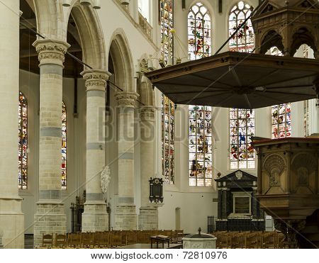 Interior Of Old Church Delft