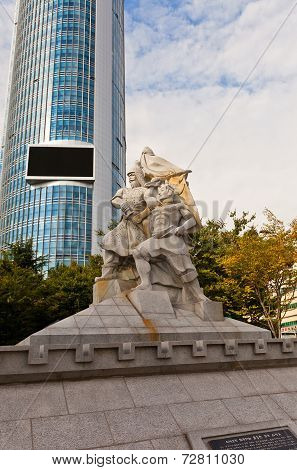Statue Of Korean General Yun Heung-shin In Busan, Korea