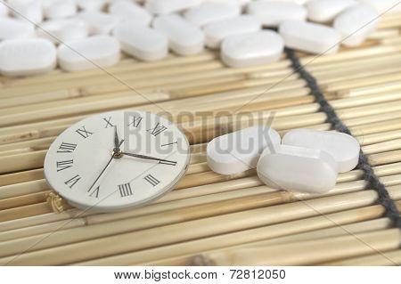 White pill and roman numeric clock