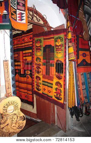 Bolivian woven souvenirs shop