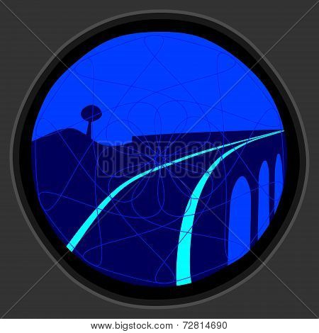 railway signal of gray metal with blue light - warning before entering the bridge