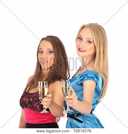 Two Girls Drink Spirits To Selebrate An Excellent Choice