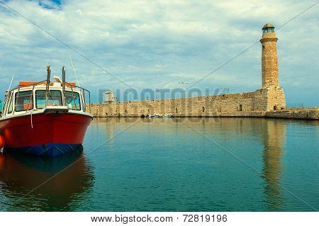 Lighthouse. Greece. Crete. Rethymnon.